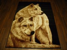 Modern Approx 6x4 120x170cm Woven Backed Wolves Rug Sale Top Quality Beige/Black